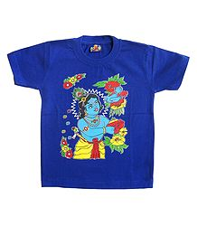 Printed Krishna on Blue T-Shirt for Young Boy