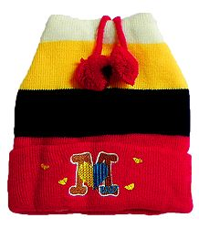 Red, Yellow and Black Woolen Stripe Cap