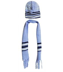 Light Blue Woolen Scarf and Cap with Stars