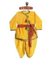 Golden Yellow Silk Dhoti (Pyjama type) and Kurta with Headress and Waistband  (This Dress is like Lord Krishna)