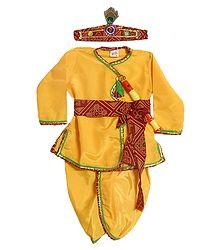 Golden Yellow Silk Dhoti (Pyjama type) and Kurta with Headress and Waistband  (This Dress is like Lord Krishna)