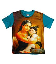 Printed Krishna on Yellow T-Shirt