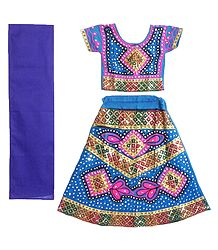 Embroidered Blue Ghagra, Choli with Bead and Sequin Work
