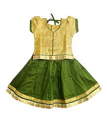 Green Lehenga and Golden Choli  for Baby Girl