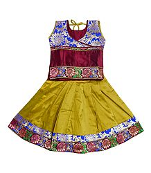 Yellow Ghagra and Maroon Choli for Baby Girl