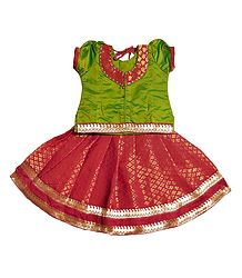 Red Ghagra and Green Choli for Baby Girl