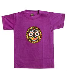 Printed Jagannathdev Face on Purple T-Shirt