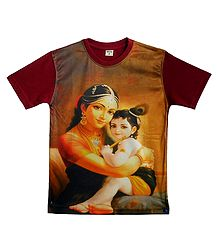 Printed Yashoda Krishna on Maroon T-Shirt for Young Boy