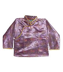 Mauve with Golden Woven Brocade Silk Finish Kurta