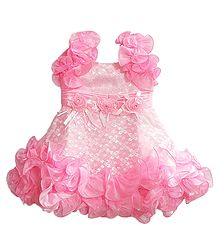 Pink Frilled Party Wear Dress