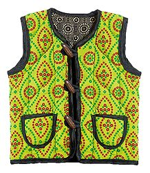 Reversible Sleeveless Quilt Jacket with Pocket