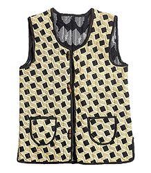 Printed Sleeveless Quilt Jacket