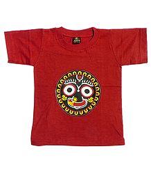 Printed Jagannathdev Face on Red T-Shirt