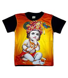 Printed Krishna on T-Shirt for Baby Boy