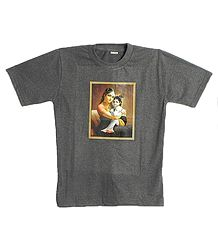 Printed Yashoda Krishna on Dark Grey T-Shirt