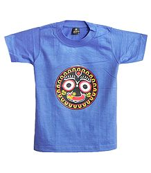 Printed Face of Jagannathdev on Blue T-Shirt