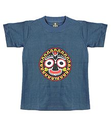 Printed Face of Jagannathdev on Grey T-Shirt