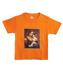 Yashoda Krishna on Saffron T-Shirt for Young Boy