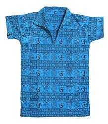 Cyan Blue Half Sleeve Short Kurta