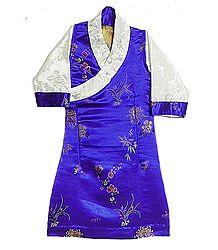 Blue Brocade Silk Sikkimese Dress