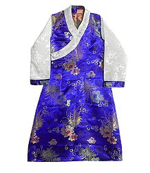 Blue Brocade Silk Sikkimese Dress