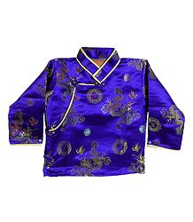 Dark Blue with Golden Woven Brocade Silk Finish Kurta