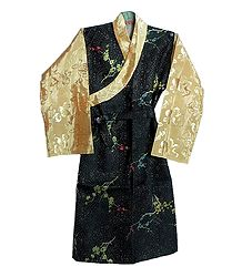 Black with Peach Brocade Silk Sikkimese Dress
