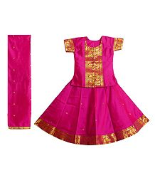 Dark Pink Silk with Zari Border Lehenga Choli and Chunni