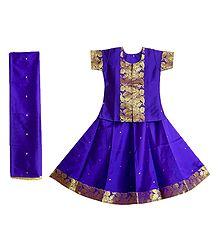 Purple Silk with Zari Border Lehenga Choli and Chunni