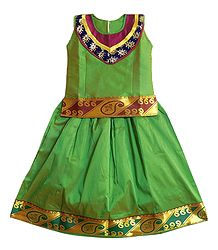 Green Ghagra Choli with Golden Border for Baby Girl