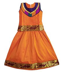 Saffron Ghagra Choli with Golden Border for Baby Girl