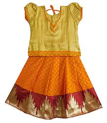 Saffron Ghagra and Golden Choli for Baby Girl