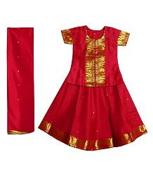 Red Silk with Zari Border Lehenga Choli and Chunni