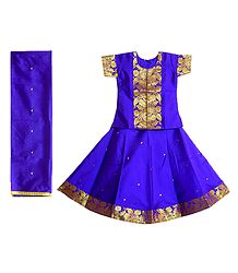 Purple Silk with Zari Border Lehenga Choli and Chunni