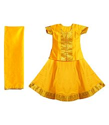 Yellow Silk with Zari Border Lehenga Choli and Chunni