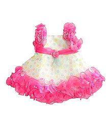 Pink Frilled Party Wear Multicolor Polka Dot Dress with Bead and Stone