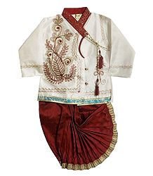 Embroidered Art Silk Kurta & Ready to Wear Dhoti