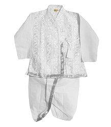 Embroidered White Kurta and Ready to Wear Dhoti for Baby Boy