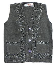 Front Open Embroidered Dark Grey Sleeveless Woolen Jacket with Pocket