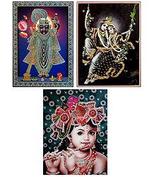 Radha Krishna and Sreenathji - Set of 3 Glitter Posters