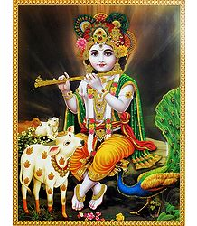 Young Krishna - Glitter Poster