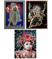 Radha Krishna and Sreenathji - Set of 3 Glitter Posters