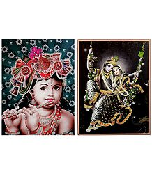 Radha Krishna and Young Krishna - Set of 2 Glitter Posters