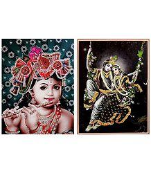 Radha Krishna and Young Krishna - Set of 2 Glitter Posters