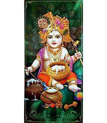 Makhan Chor Krishna- Glitter Poster