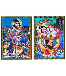 Kaliya Daman and Krishna, Basudev - Set of 2 Posters