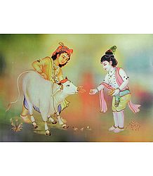 Krishna and Balaram Feeding a Calf