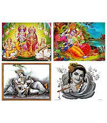 Vishnu, Lakshmi, Saraswati, Ganesha, Radha Krishna and Krishna - Set of 4 Posters
