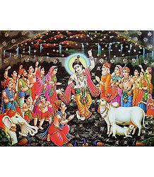 Krishna Lifts Giri Govardhan - Glitter Poster