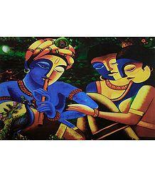 Krishna Playing Flute with Radha and Gopini